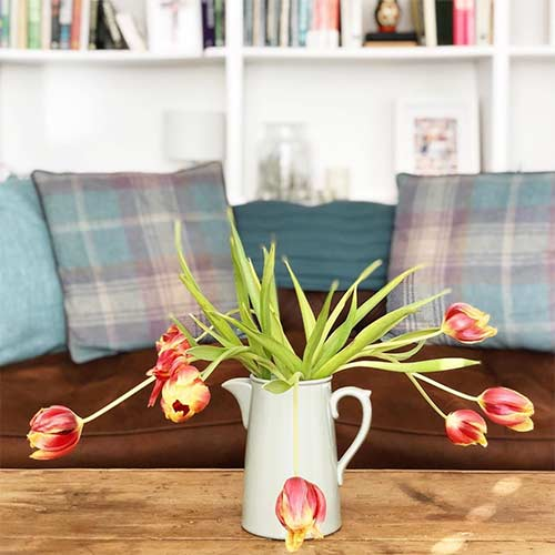 a vase with tulips on a table with a couch on the background - slowing down