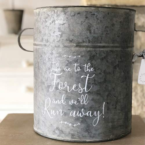 zinc tub with hand painted text
