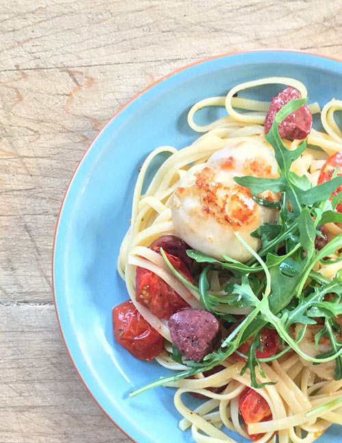 linguine with scallops and venison salami