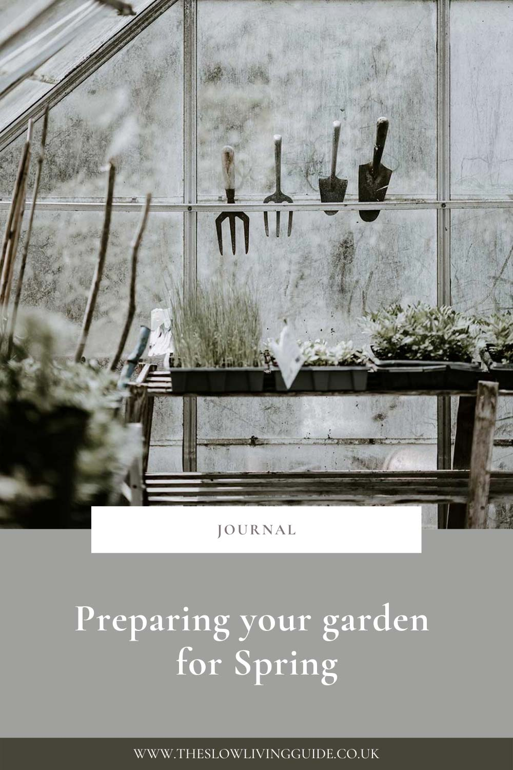 a greenhouse with garden tools - preparing for spring