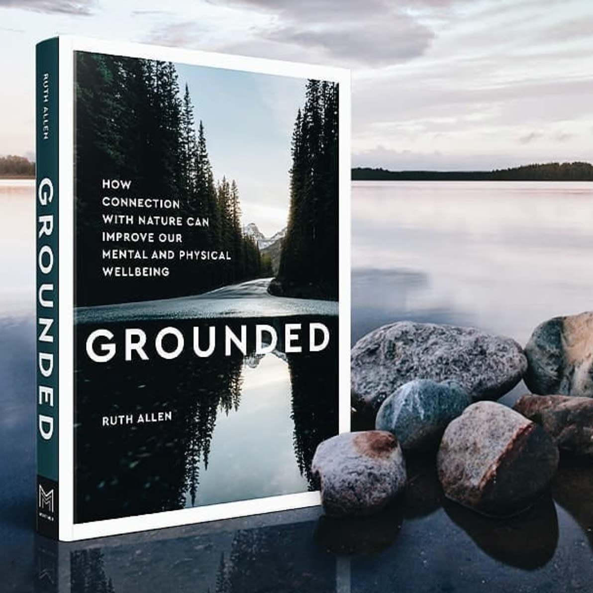 a mock up of ruth allen's new book called grounded with a serene lakeview in the background