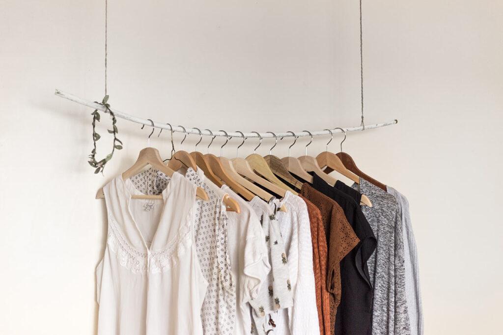 rack of clothing, capsule wardrobe