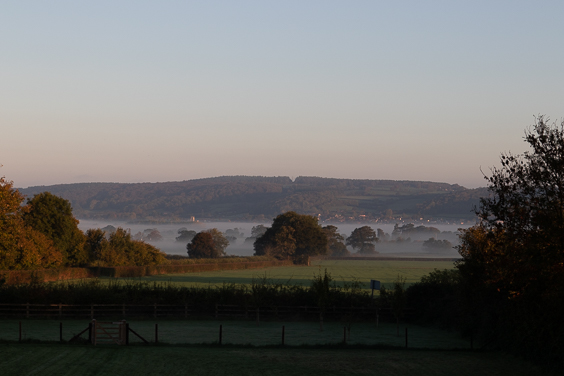 view over hills at sunrise