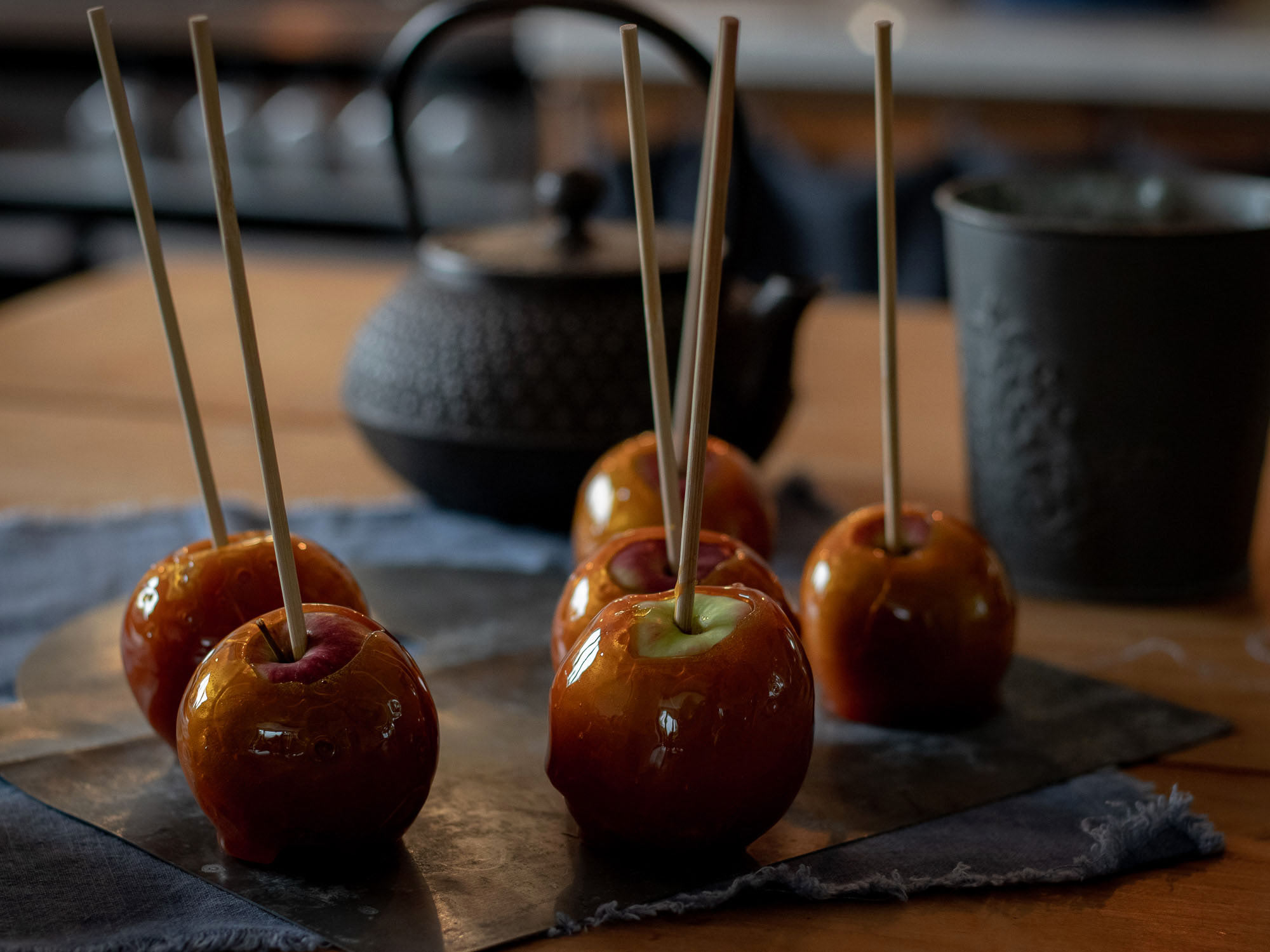 sugar glazed apples on a stick