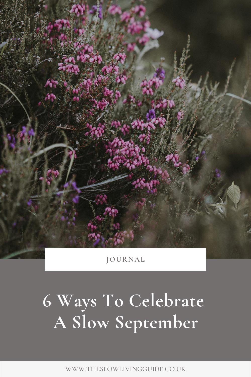 pin image with image of heather and title 6 ways to celebrate a slow September
