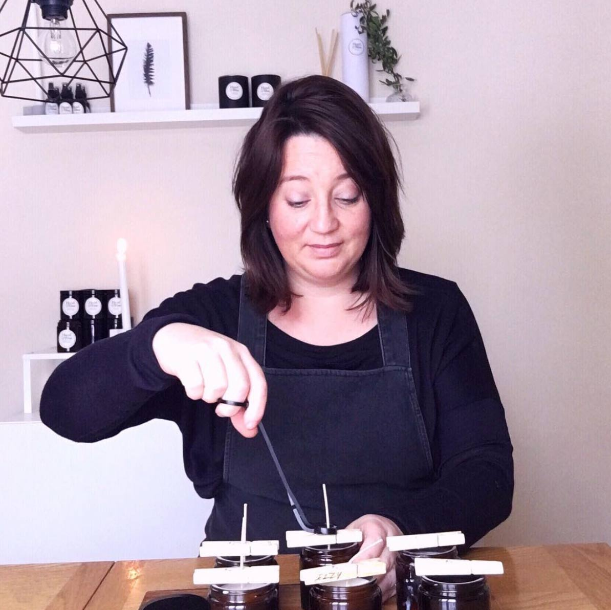 Becky Avery from Hazel and Blue Candles making candles
